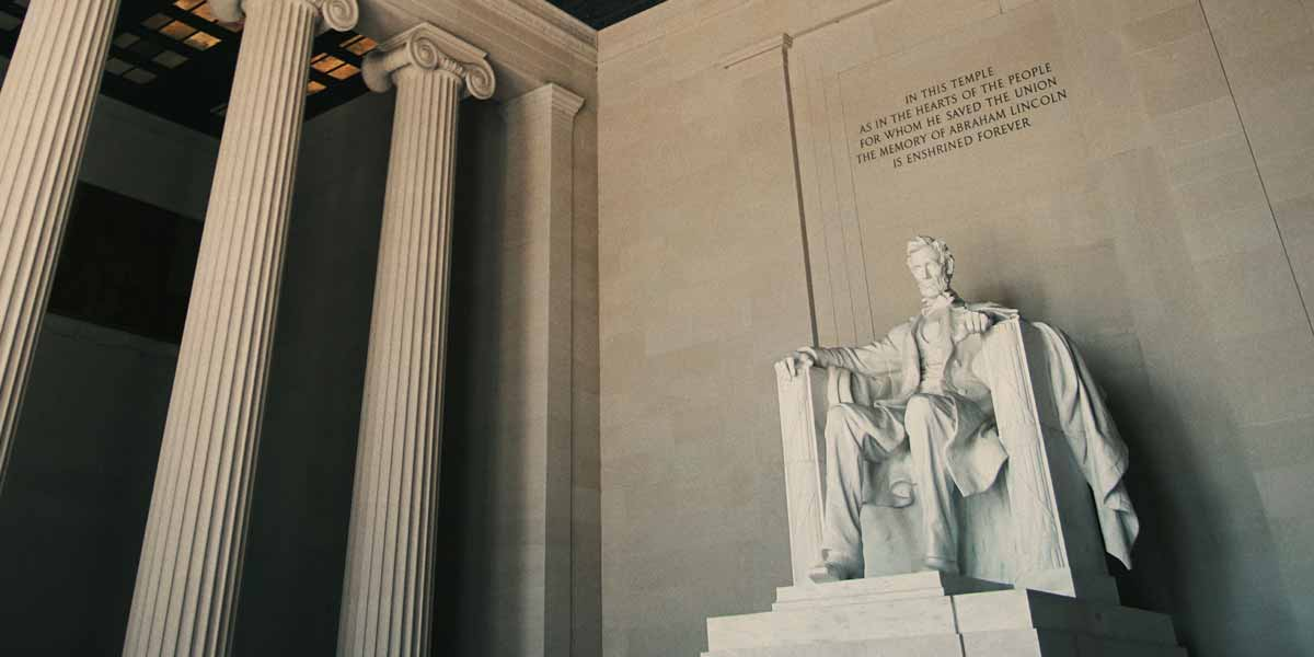 The statue of Abraham Lincoln in the Lincoln Memorial in Washington, DC