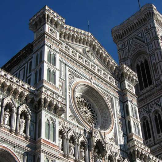 The facade of the Duomo in Florence, Italy