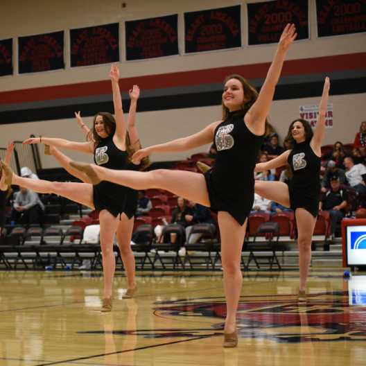 Dance team at basketball game halftime performance