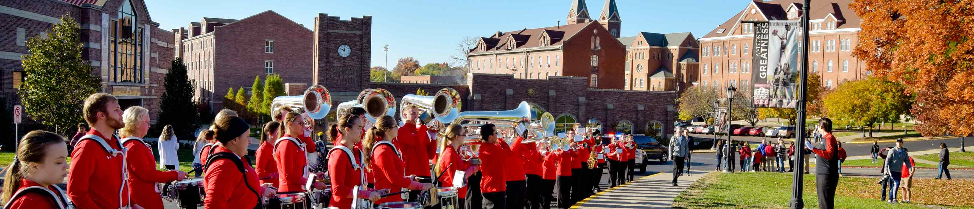 The Raven Regiment, Benedictine College's Marching Band, plays at a homecoming event