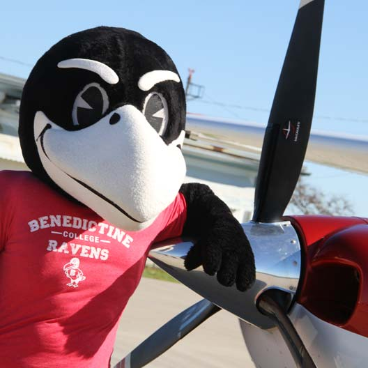 Rocky the Raven poses leaning on a plane's propeller