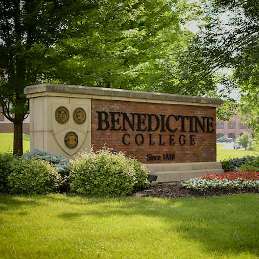 Benedictine College front entrance sign
