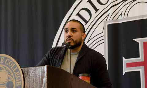 Huascar Medina speaks at Benedictine College